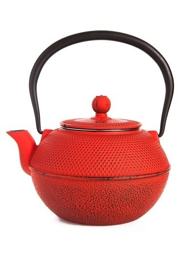 Taşev Linden - Menekşe 1200 ml Kırmızı Döküm Çaydanlık-Bambum